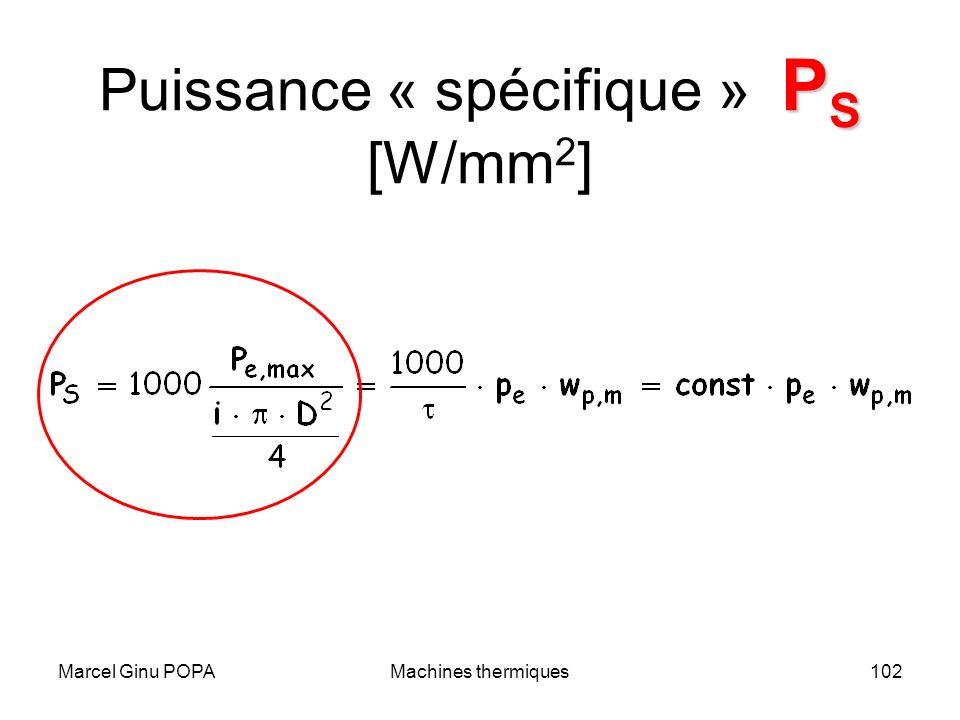 Puissance « spécifique » PS [W/mm2]